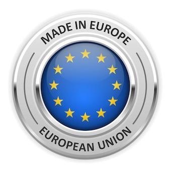 Medaglia d'argento made in european union (eu) con bandiera Vettore Premium