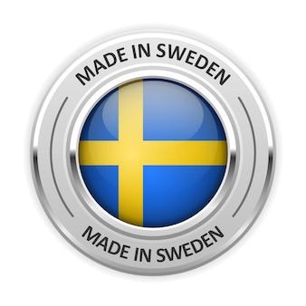 Medaglia d'argento made in sweden con bandiera