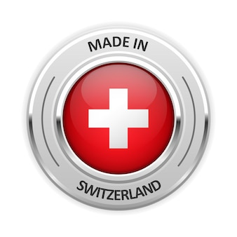Medaglia d'argento made in switzerland con bandiera Vettore Premium