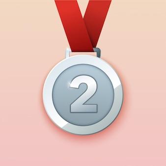 Medaglia d'argento per il secondo premio. illustrazione.