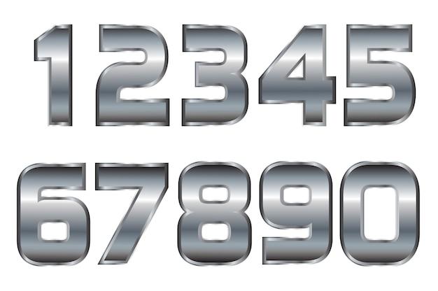 Numeri in metallo argentato