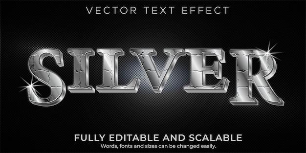 Effetto di testo modificabile argento metallizzato e stile di testo Vettore Premium