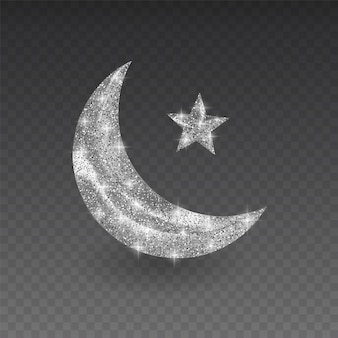 Mese musulmano d'argento con struttura scintillante su sfondo trasparente, illustrazione