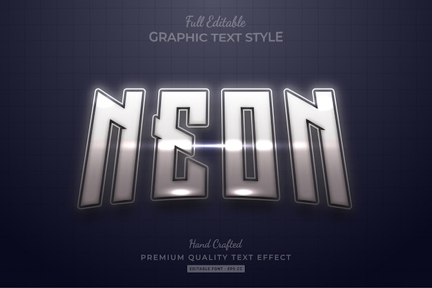 Effetto stile di testo premium modificabile al neon d'argento