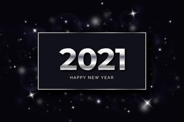 Concetto d'argento del nuovo anno 2021