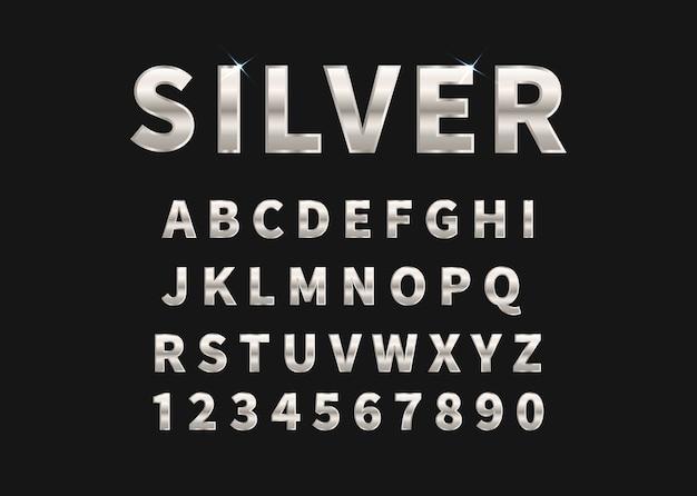 Set d'argento di alfabeto e numeri.