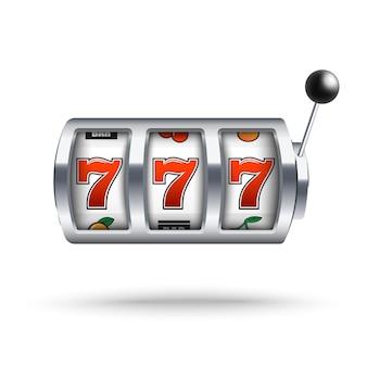 Silver slot machine con fortunato jackpot tre sette in stile realistico isolato.
