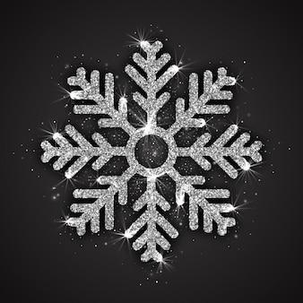 Fiocco di neve scintillante argento con decorazioni natalizie con texture luccicante