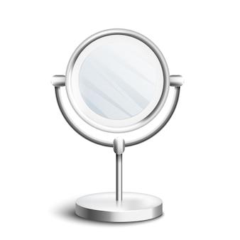 Specchio da tavolo in argento con piano a cerchio rotante in piedi