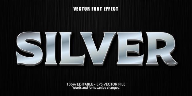 Testo argento, effetto di testo modificabile in stile metallico lucido