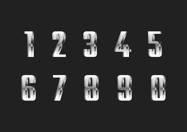 Set di numeri di caratteri moderni sottili d'argento