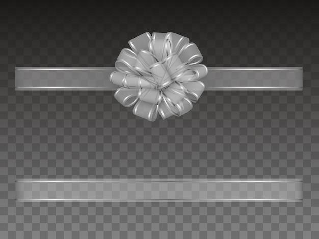 Fiocco e nastro trasparenti argento