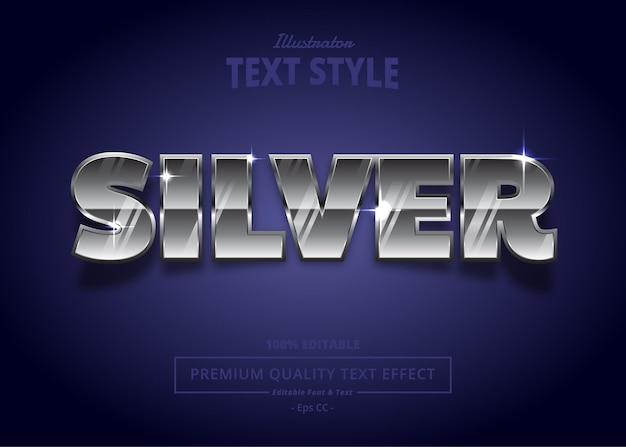 Effetto stile testo vettoriale argento