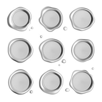Set di timbro sigillo di cera d'argento isolato