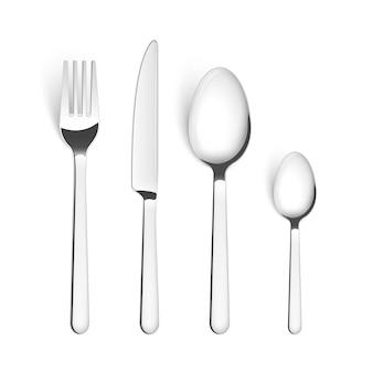 Posate posate cucchiaio forchetta posate vettore isolato metallo set. coltello da cucina in acciaio argentato da tavola.