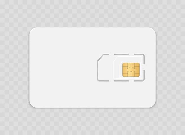 Scheda sim isolata su sfondo trasparente chip micro gsm per telecomunicazioni wireless smart cell