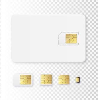 Sim card oggetto icona realistica vettore simcard isolato d design gsm