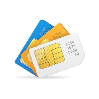 Set di schede sim. dispositivi mobili con chip.