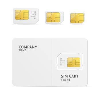 Sim card set con spazio per il testo.