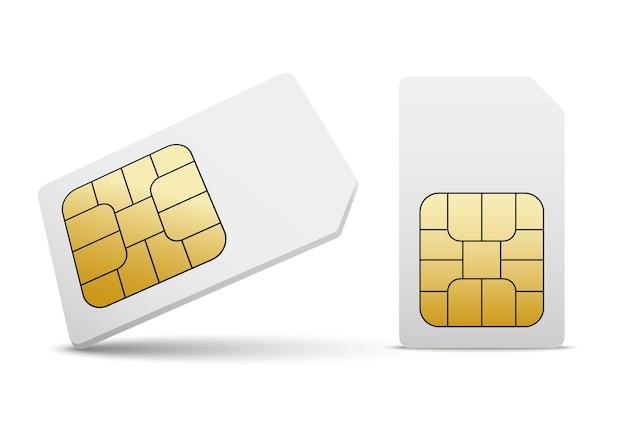 Chip dell'icona del telefono cellulare di vettore della carta sim. simcard ha isolato la progettazione 3d gsm.