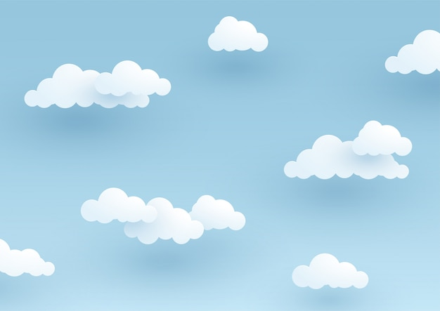 Semplice 3d sfondo nuvoloso cielo blu