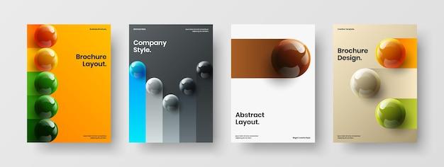 Semplice set di layout per cartoline con sfere 3d