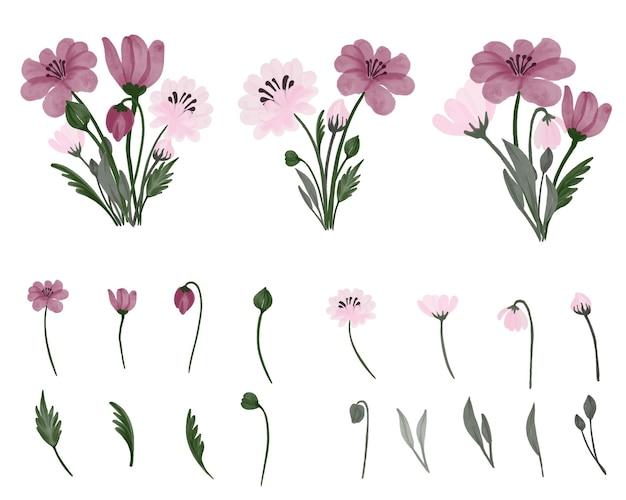 Semplice disposizione di acquerelli floreali in bouquet semplice rosa e rosa tenue