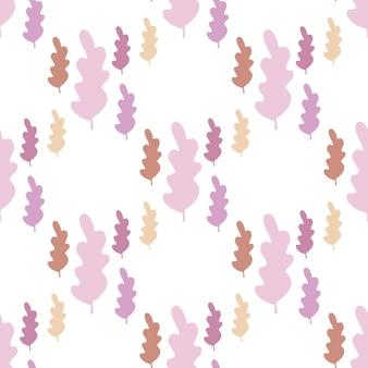 Semplici foglie autunnali senza cuciture in colori pastello. carta da parati della stagione autunnale. sullo sfondo del ramo di foglia. illustrazione della foresta di vettore su priorità bassa bianca. stile piatto per tessuto, avvolgimento