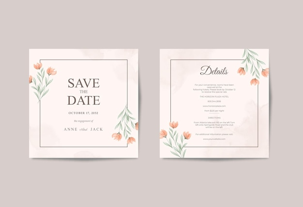 Modello quadrato semplice e bello della carta di nozze
