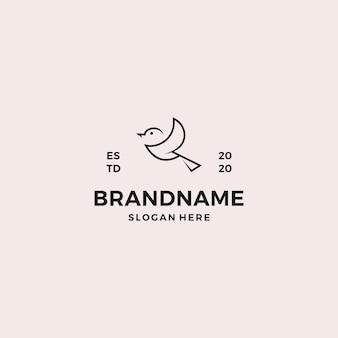 Modello di progettazione di logo semplice uccello