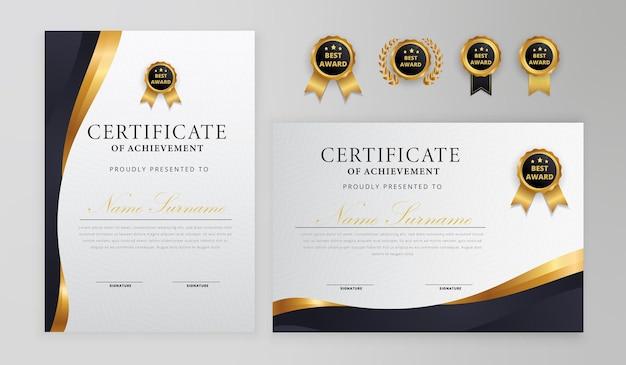 Semplice certificato nero e oro con badge