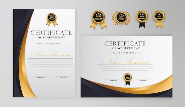Distintivi di confine certificato semplice onda nera e oro e modello di diploma
