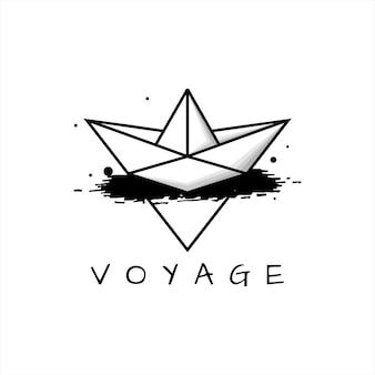 Semplice barca di carta di arte di linea nera