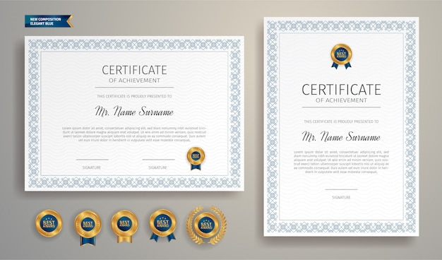 Semplice certificato blu con badge oro e modello di bordo