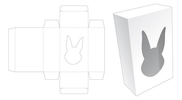 Scatola semplice con sagoma fustellata finestra a forma di coniglio