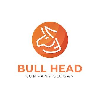 Semplice logo a testa di toro con sfondo sfumato in stile monoline
