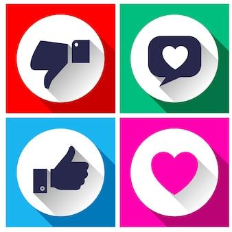 Pulsanti semplici con social network di feedback degli utenti,