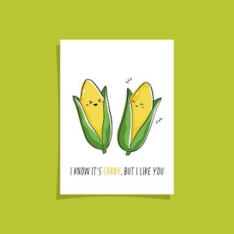 Design semplice della carta con vegetariano carino e frase. disegno kawaii con mais. illustrazione con mais carino