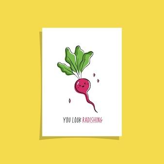 Design semplice della carta con vegetariano carino e frase. disegno kawaii con ravanello