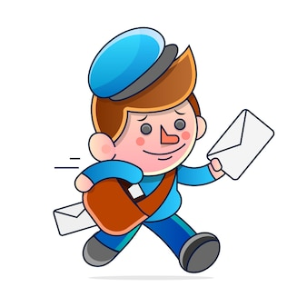Semplice cartone animato di un postino che corre a consegnare la posta