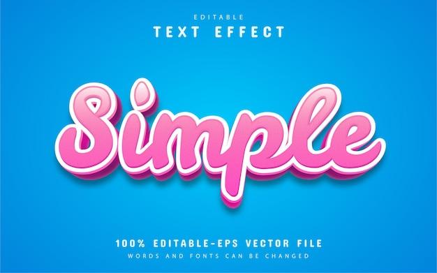Semplice effetto di testo in stile cartone animato con colore rosa