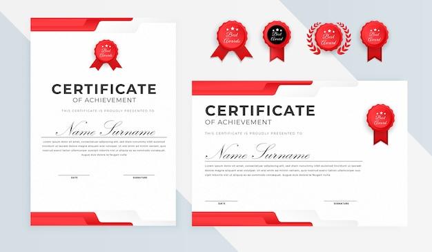 Diploma di premio certificato semplice con bagdes
