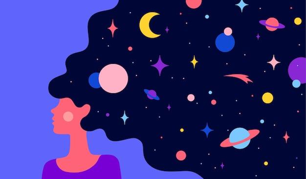 Carattere semplice di donna ragazza con la notte stellata dell'universo nei capelli