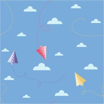Un semplice modello per bambini di aeroplani origami tra le nuvole