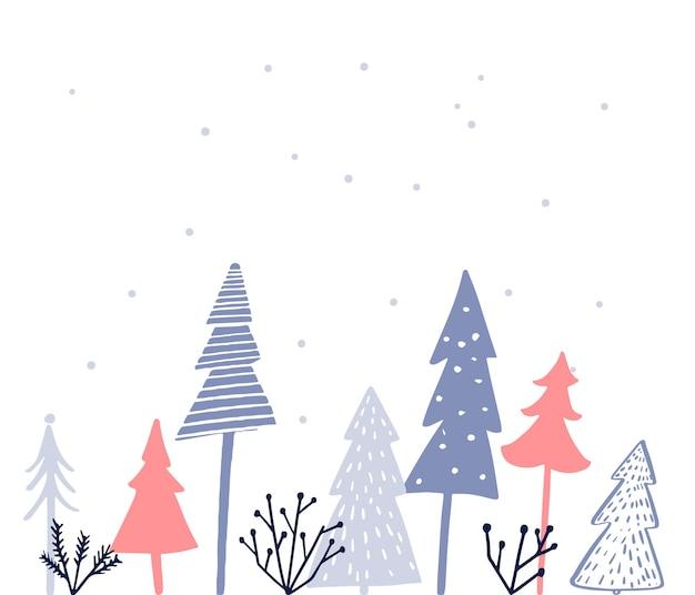 Design semplice della cartolina di natale albero di natale diverso su abeti bianchi rosa e blu