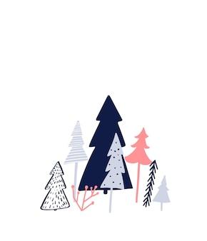 Design semplice della cartolina di natale albero di natale in stile diverso su illustrazione minimalista bianca