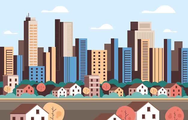 Concetto di vista facciata semplice città città edifici