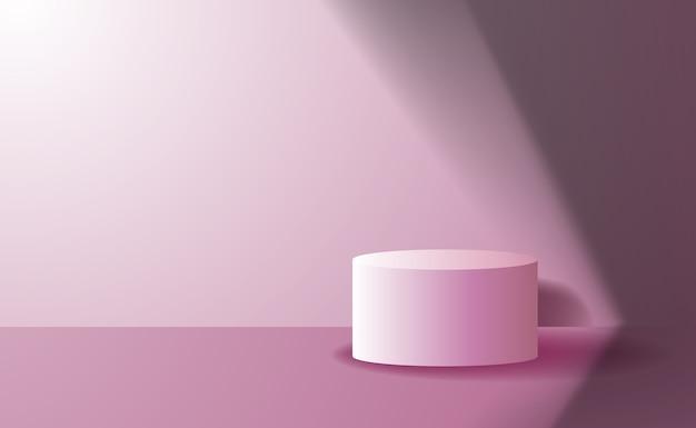 Espositore per palcoscenico con piedistallo a cilindro semplice ed elegante per banner promozionale con colore rosa e bella luce e ombra