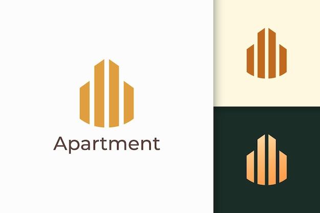 Logo di proprietà o appartamento semplice e pulito per attività immobiliari