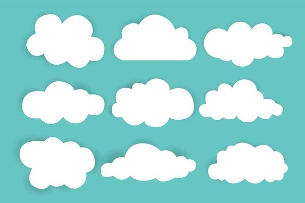 Semplice raccolta di nuvole. set di nuvole diverse. icone e set di nuvole logo. modello di progettazione.